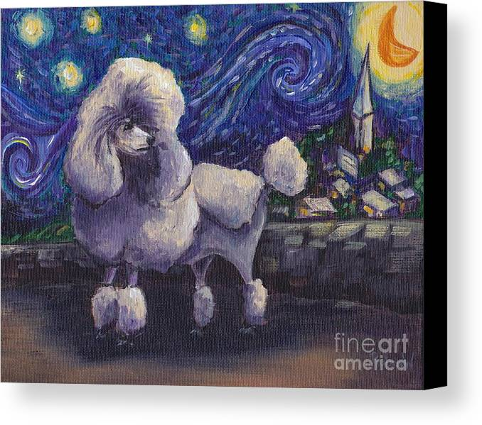 Poodle Canvas Print featuring the painting Starry Night Poodle by Robin Wiesneth