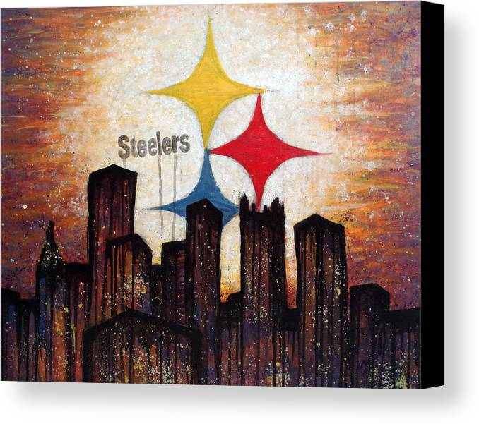 Steelers Canvas Print featuring the painting Steelers. by Mark M Mellon