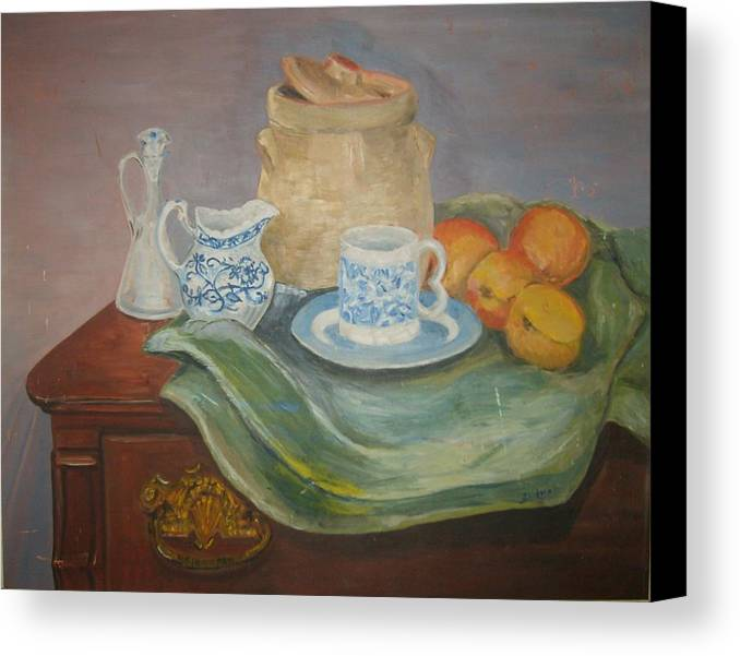 Still Life Peaches Cookie Jar Bureau Canvas Print featuring the painting Still Life With Peaches by Joseph Sandora Jr