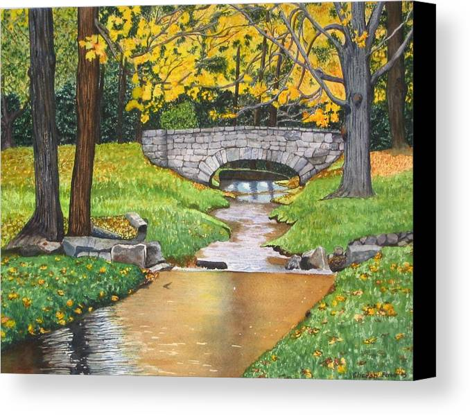 Landscape Canvas Print featuring the painting Stone Bridge by Sharon Farber