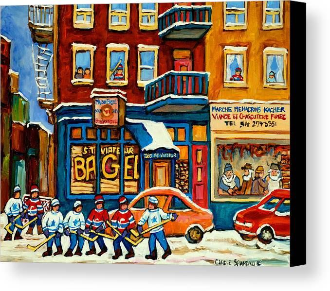 St.viateur Bagel Canvas Print featuring the painting St.viateur Bagel Hockey Montreal by Carole Spandau