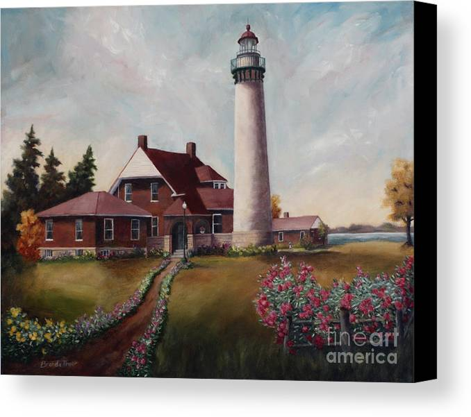 Lighthouse Nautical Building Structure Oil Painting Canvas Original Lake Michigan Flowers Canvas Print featuring the painting Suel Choix Light by Brenda Thour