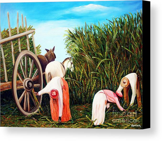 Cuban Art Canvas Print featuring the painting Sugarcane Worker 1 by Jose Manuel Abraham