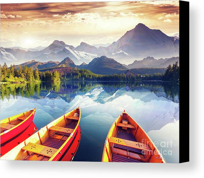 Alp Canvas Print featuring the photograph Sunrise Over Australian Lake by Thomas Jones