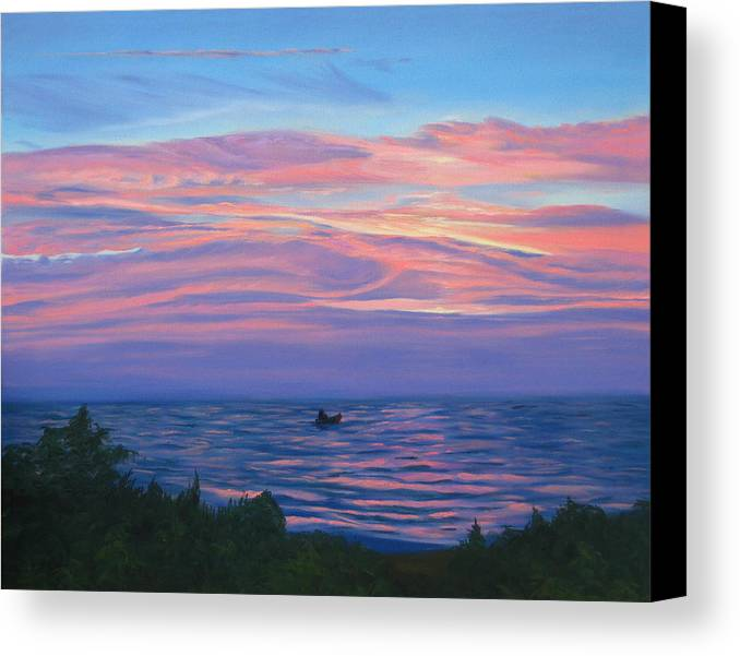 Seascape Canvas Print featuring the painting Sunset Bay by Lea Novak