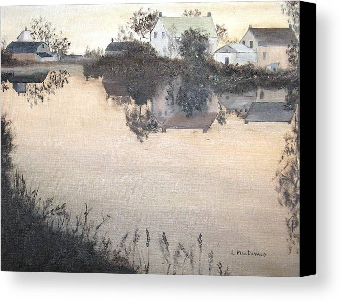 Landscape Canvas Print featuring the painting sunset On Consecon by L A Raven