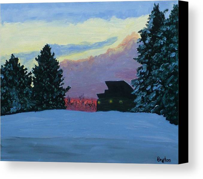 Landscape Canvas Print featuring the painting Sunset Serenade by Laurie Breton