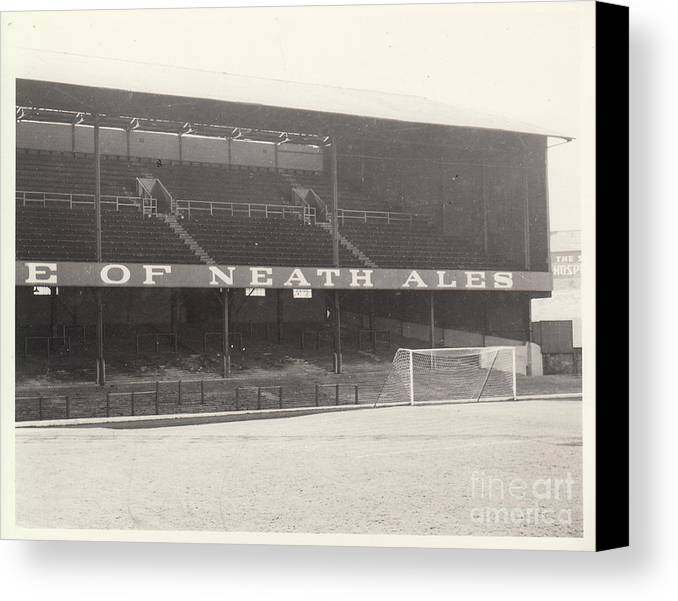 Canvas Print featuring the photograph Swansea - Vetch Field - West Terrace 1 - Bw - 1960s by Legendary Football Grounds