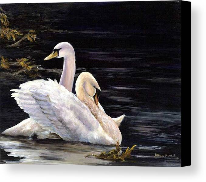 Swans Canvas Print featuring the print Swansong by Kathleen Marshall McConnell