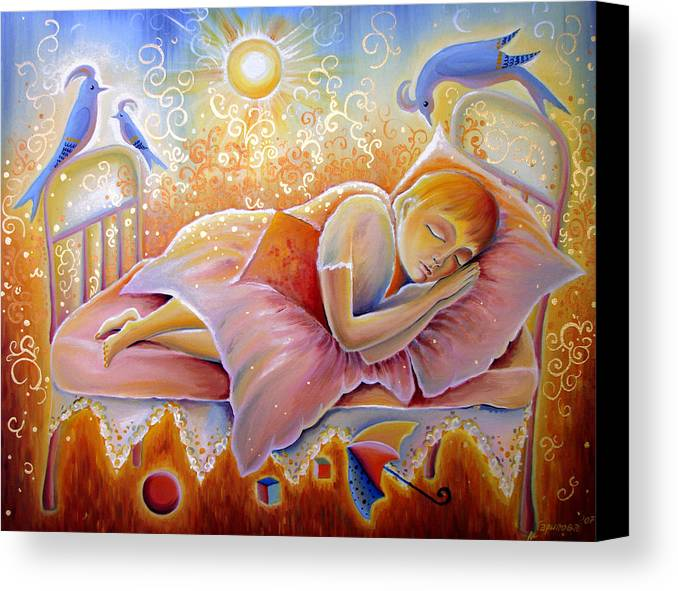 Sleeping Child Canvas Print featuring the painting The Best Of Dreams by Liliya Garipova