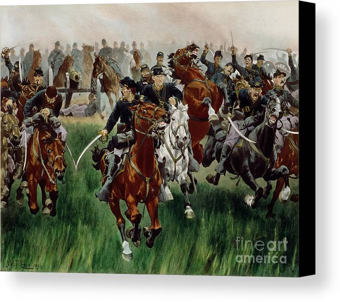 Canvas Print featuring the painting The Cavalry by WT Trego