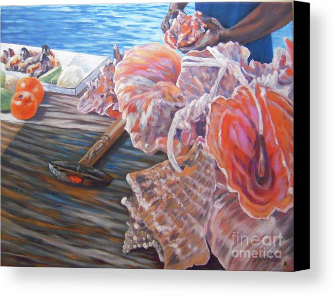 Bahamas Canvas Print featuring the painting The Conchman by Danielle Perry