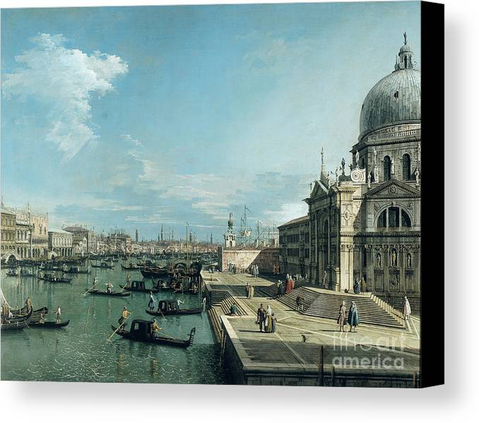 The Canvas Print featuring the painting The Entrance To The Grand Canal And The Church Of Santa Maria Della Salute by Canaletto