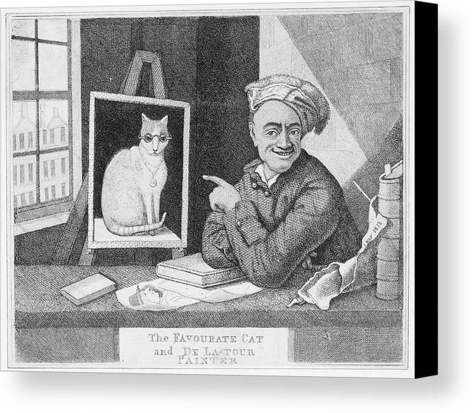 Funny Canvas Print featuring the painting The Favourite Cat And De La Tour The Painter by Unknown