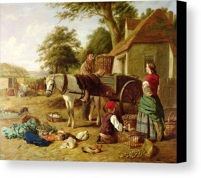 Rural; Farm; Horse; Harness; Poultry; Chickens; Ducks; Cows; Milking; Produce; Eggs; Cabbages; Bulbs; Farmyard; Farmhouse; Farmer; Family; Homegrown; Barrow; Victorian Canvas Print featuring the painting The Market Cart by Henry Charles Bryant