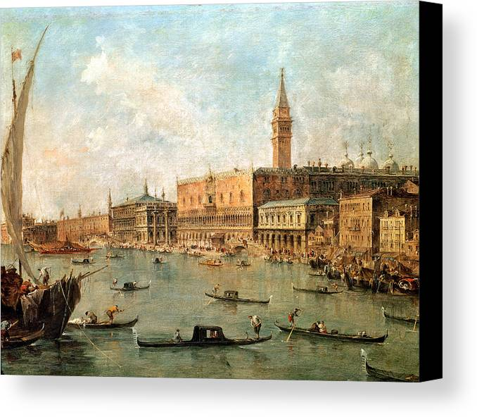 Venice: The Doge's Palace And The Molo From The Basin Of San Marco Canvas Print featuring the painting The Palace And The Molo From The Basin Of San Marco by Francesco Guardi