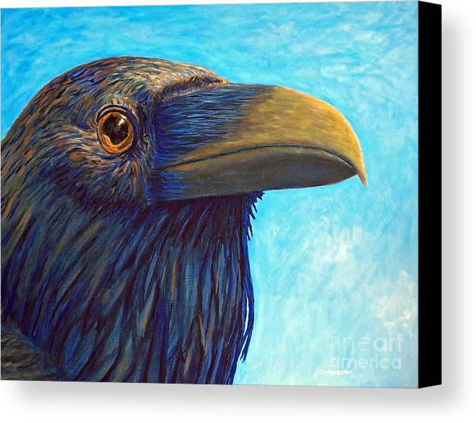 Raven Canvas Print featuring the painting The Prophet by Brian Commerford