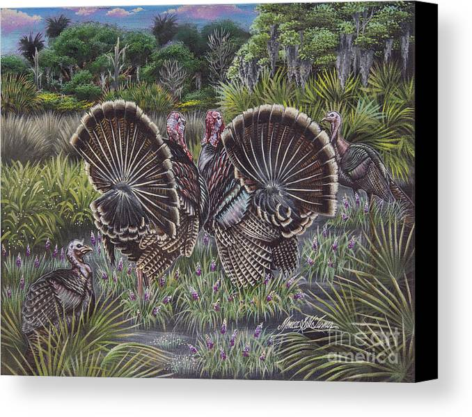 Hunting Canvas Print featuring the painting The Showoffs by Monica Turner
