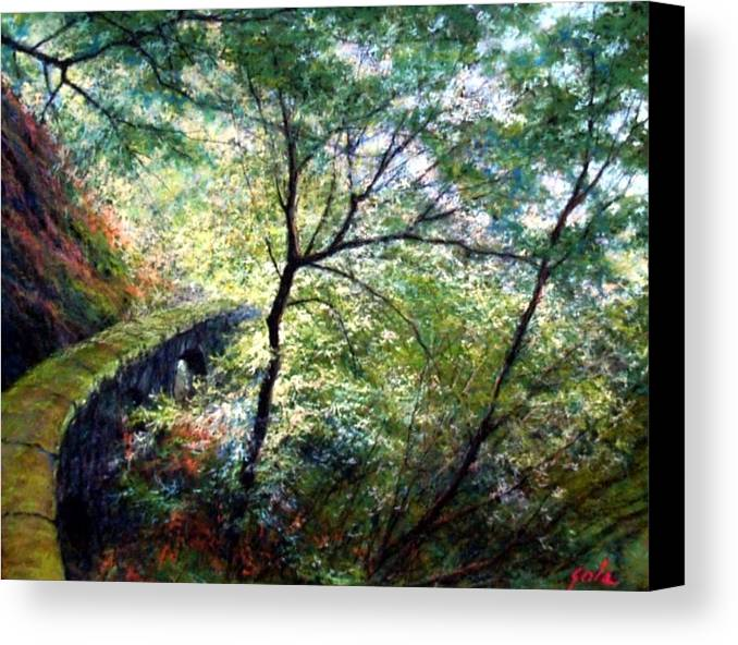 Pastel Canvas Print featuring the painting The Stone Wall by Jim Gola