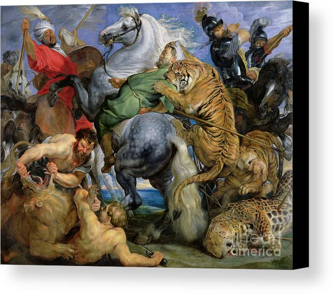 The Canvas Print featuring the painting The Tiger Hunt by Rubens