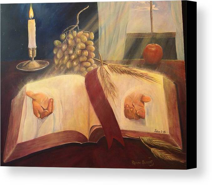Contemporary Canvas Print featuring the painting The Word Made Flesh by Renee Dumont Museum Quality Oil Paintings Dumont