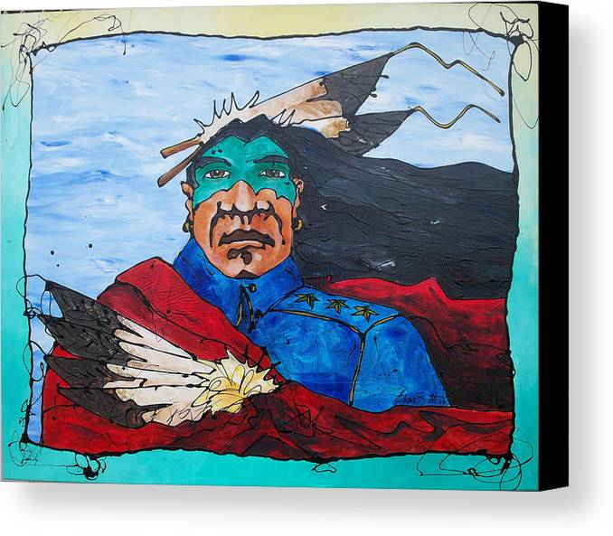 Native American Canvas Print featuring the painting Three Star General by Ernie Scott- Dust Rising Studios