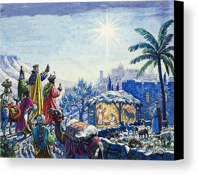 Infant; Baby; Birth; Jesus; Christ; Stable; Gifts; Present; Gold; Frankincense; Myrrh; King; Kings; Wise Men; Holy; Mary; Virgin; Madonna; Joseph; Family; Adoring; Worshipping; Stable; Landscape; Three; Christmas; Epiphany; Nativity; North Star; Infant; Baby; Birth; Jesus; Christ; Stable; Gifts; Present; Gold; Frankincense; Myrrh; King; Kings; Wise Men; Holy; Mary; Virgin; Madonna; Joseph; Family; Adoring; Worshipping; Stable; Landscape; Three; Christmas; Epiphany Canvas Print featuring the painting Three Wise Men by Unknown