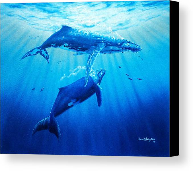 Whale Canvas Print featuring the painting Together by Daniel Bergren
