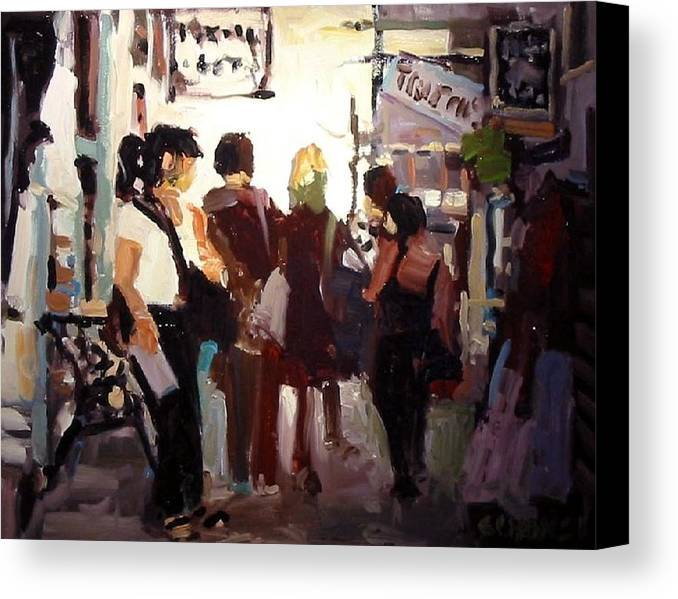 Landscape Paintings Canvas Print featuring the painting Tourists by Brian Simons