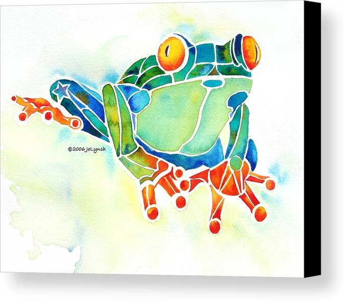 Tree Frog Canvas Print featuring the painting Tree Frog In Greens by Jo Lynch