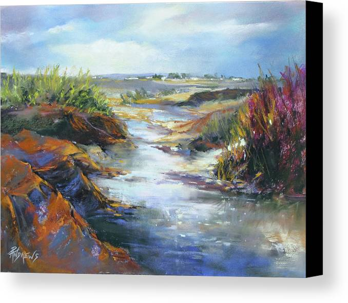 Landscape Canvas Print featuring the painting Twists And Turns Near Johnson City by Rae Andrews