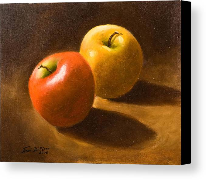 Canvas Print featuring the painting Two Apples by Joni Dipirro
