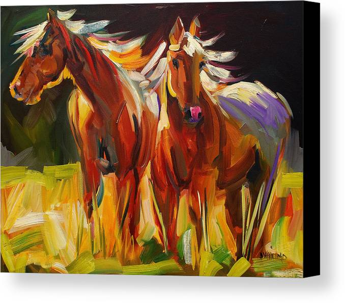 Painting Canvas Print featuring the painting Two Horse Town by Diane Whitehead