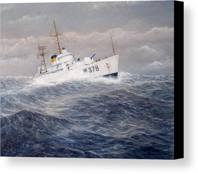 Coast Guard Cutter Canvas Print featuring the painting U. S. Coast Guard Cutter Halfmoon by William H RaVell III