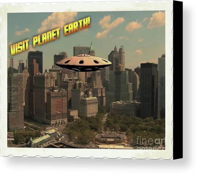 Ufo Canvas Print featuring the digital art Ufo Postcards Home By Raphael Terra by Raphael Terra