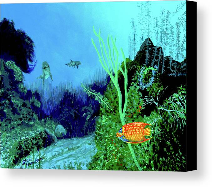 Wildlife Canvas Print featuring the painting Underwater by Stan Hamilton
