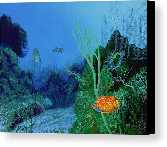 Dolphin Canvas Print featuring the painting Underwter by Stan Hamilton