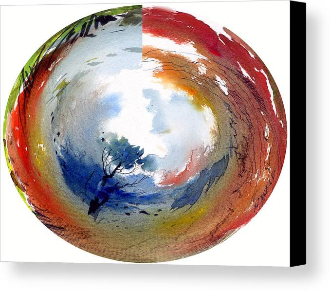 Landscape Water Color Watercolor Digital Mixed Media Canvas Print featuring the painting Universe by Anil Nene