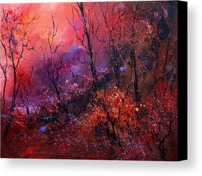 Wood Sunset Tree Canvas Print featuring the painting Unset In The Wood by Pol Ledent