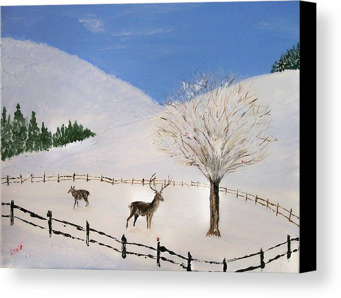 Snow Canvas Print featuring the painting Valley Of Snow by Leo Gordon