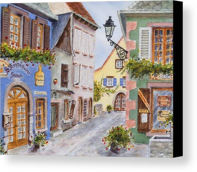 Village Canvas Print featuring the painting Village In Alsace by Mary Ellen Mueller Legault