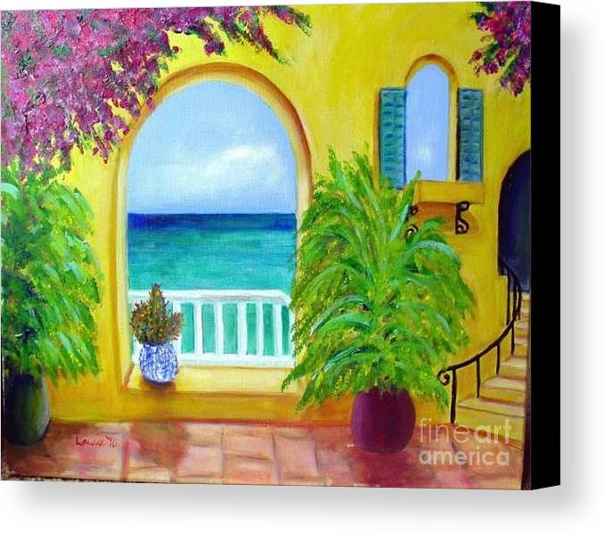Patio Canvas Print featuring the painting Vista Del Agua by Laurie Morgan