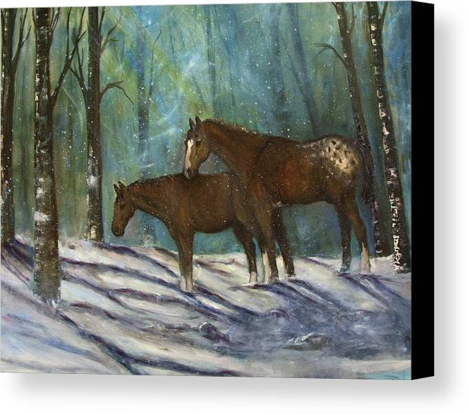 Horses Canvas Print featuring the painting Waiting For Spring by Darla Joy Johnson