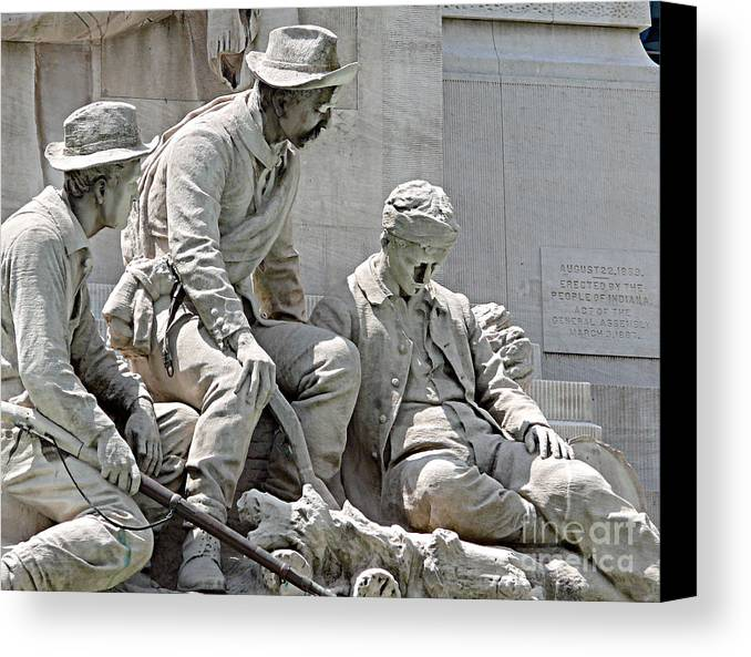Statue Canvas Print featuring the photograph War Has Always Been Hell by Mark Grayden