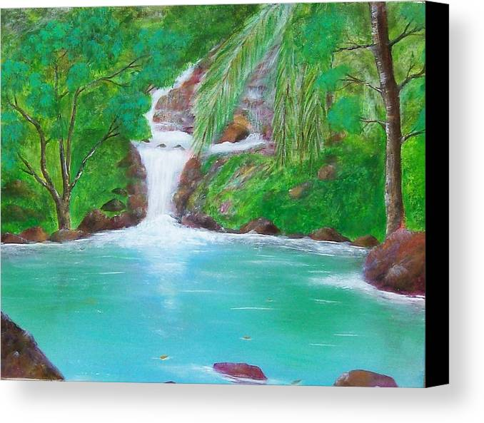 Waterfall Canvas Print featuring the painting Waterfall by Tony Rodriguez