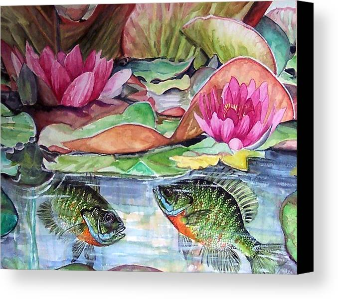 Waterlillies Canvas Print featuring the print Waterlillies And Blue Giles by Bette Gray