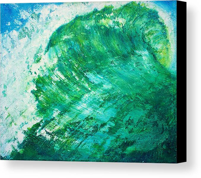 Wave Green Wave Mixed Medium Surfing Beach Tropical Summer Mixed Media Oils Painting Wax Texture Mi Canvas Print featuring the painting wave IX by Martine Letoile