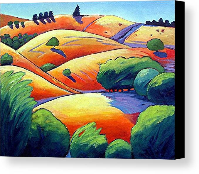 Landscape Canvas Print featuring the painting Waves Of Hills by Gary Coleman