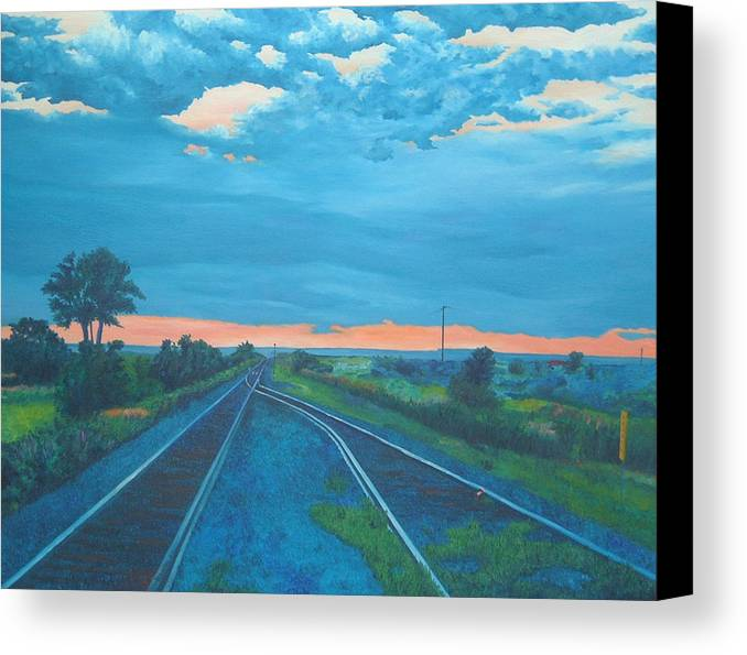 Railroad Tracks Canvas Print featuring the painting Where Little Boys Play by Blaine Filthaut