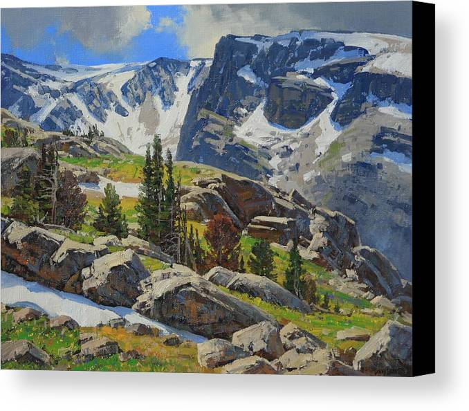Landscape Canvas Print featuring the painting Wind River Range-wyoming by Lanny Grant
